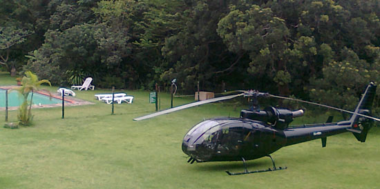 A helicopter on The Outspan Inn's lawn