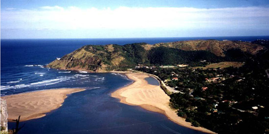 An aerial view of Port St Johns