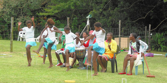 Xhosa children performing a traditional dance
